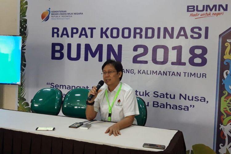Direktur Utama Inalum Budi Gunadi Sadikin ketika memberikan paparan kepada awak media di kantornya, Minggu (28/10/2018).
