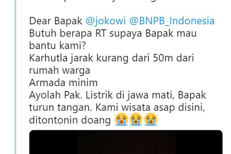 Salah satu akun Twitter yang mengeluhkan meluasnya kebakaran hutan dan lahan di Kalimantan.
