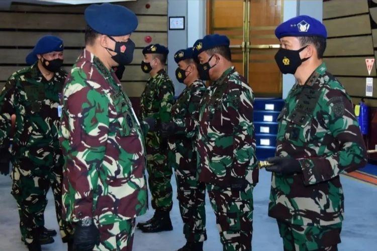 KSAU Marsekal TNI Fadjar Prasetyo memimpin sertijab terhadap jabatan strategia di lingkungan Mabes TNI AU, Kamis (23/9/2021).