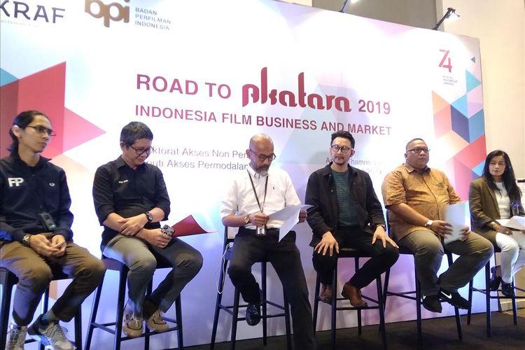 Anggota Bekraf dan Badan Perfilman Indonesia (BPI) dalam road to Akatara Indonesia Film Bussiness and Market di Jakarta, Selasa (9/7/2019)