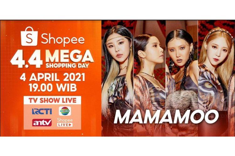 Group girl asal Korea Selatan Mamamoo bakal memeriahkan acara TV Show Shopee 4.4 Super Shopping Day.