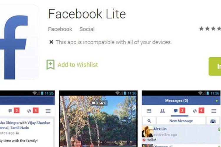 Facebook Lite, aplikasi Facebook versi ringan yang ditujukan untuk smartphone Android low-end