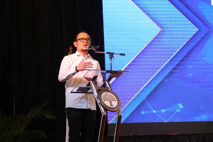 Menteri Ketenagakerjaan (Menaker) M. Hanif Dhakiri saat memberikan sambutan di acara Musyawarah Nasional XIII Keluarga Alumni Universitas Gadjah Mada (KAGAMA) 2019 di Balikpapan, Kalimantan Timur, Sabtu (7/9/2019).