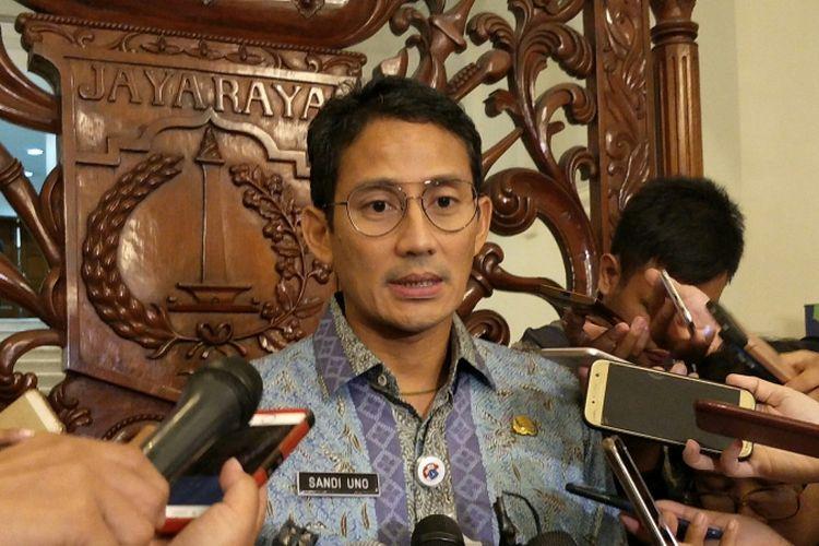 Wakil Gubernur DKI Jakarta Sandiaga Uno di Balai Kota DKI Jakarta, Jalan Medan Merdeka Selatan, Kamis (23/11/2017).