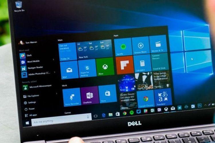 Ilustrasi laptop dengan OS Windows 10.
