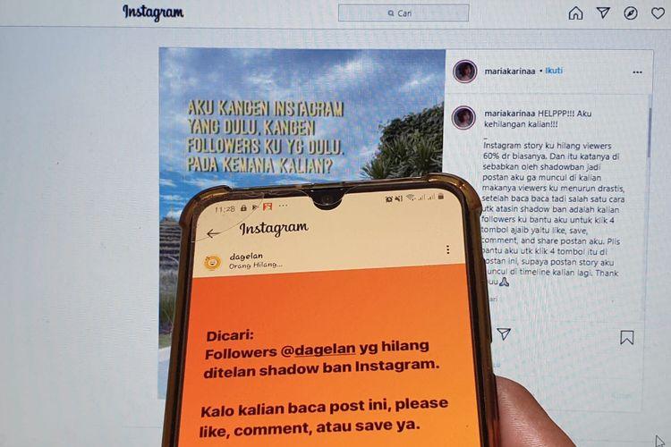Ilustrasi shadowban yang diduga menjadi penyebab menurunnya engagement akun kreator konten Instagram.