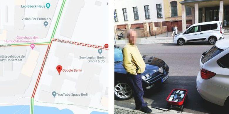 Simon Weckert sedang merekayasa Google Maps