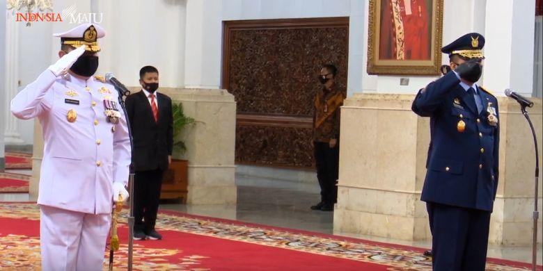 Presiden Joko Widodo melantik Laksamana Madya Yudo Margono sebagai Kepala Staf Angkatan Laut (KSAL) dan Marsekal Madya Fadjar Prasetyo sebagai Kepala Staf Angkatan Udara (KSAU), Rabu (20/5/2020).
