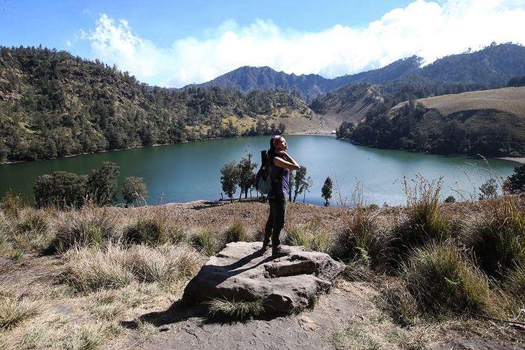 Lanskap Ranu Kumbolo di Gunung Semeru, Lumajang, Jawa Timur, Rabu (18/9/2019).