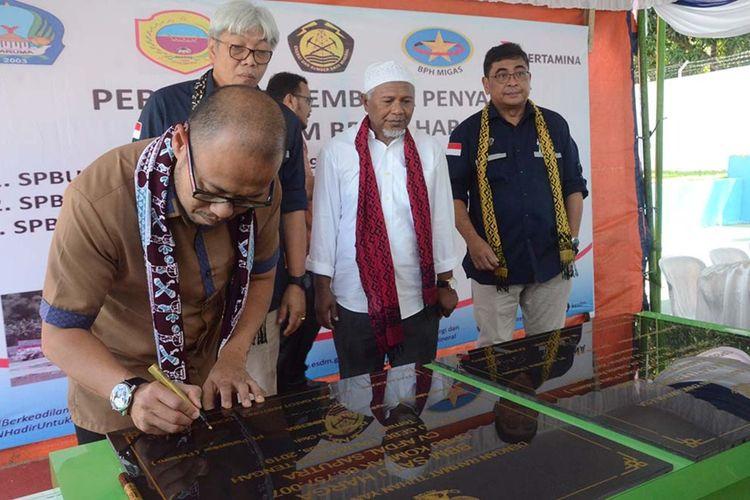 Pertamina meresmikan tiga titik Penyalur BBM Satu Harga di Maluku Utara, Rabu (14/08/2019)