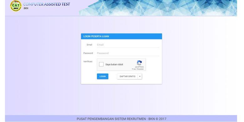 Tampilan menu simulasi situs CAT BKN