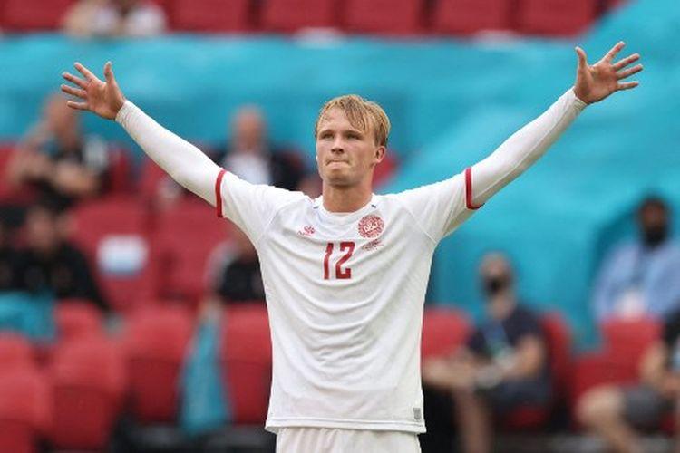 Kasper Dolberg saat merayaka gol pada laga 16 besar Euro 2020 yang mempertemukan Wales vs Denmark di Johan Cruyff Arena, Amsterdam, Belanda, pada Sabtu (26/6/2021) malam WIB.