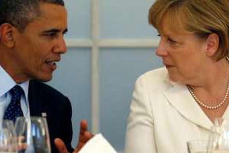 Presiden AS Barack Obama dan Kanselir Jerman Angela Merkel