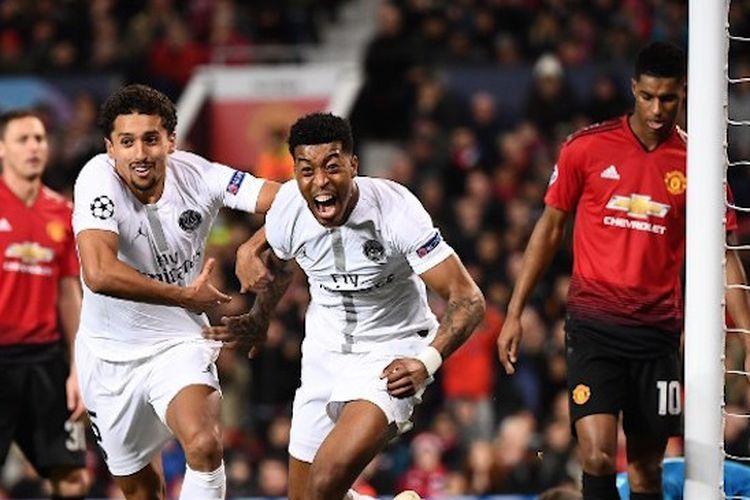 Presnel Kimpembe merayakan golnya pada pertandingan Manchester United vs PSG di Stadion Old Trafford dalam babak 16 besar Liga Champions, 12 Februari 2019.