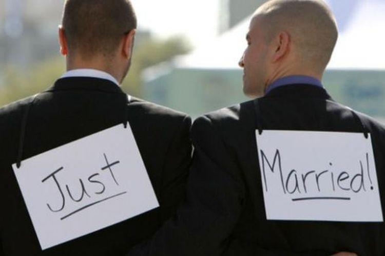 Ilustrasi pernikahan gay.