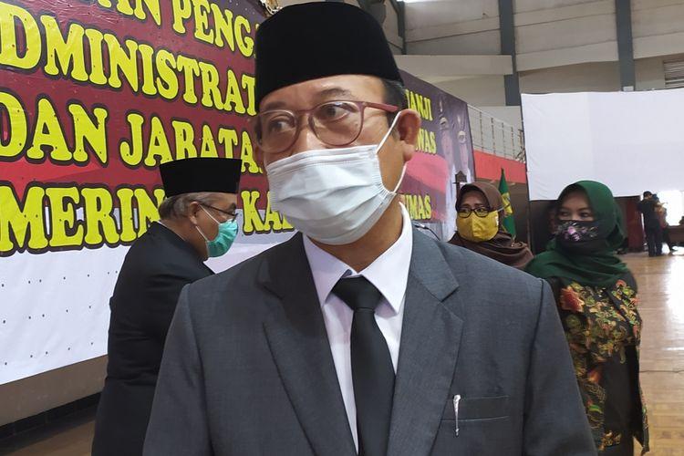 Bupati Banyumas Achmad Husein di GOR Satria Purwokerto, Kabupaten Banyumas, Jawa Tengah, Senin (6/7/2020).