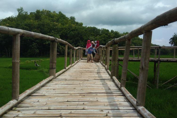 Pengunjung melintas Jembatan Jelajah Sawah Pertanian Bawongan, Dusun Sukorame, Desa Mangunan, Kecamatan Dlingo, Bantul, Yogyakarta