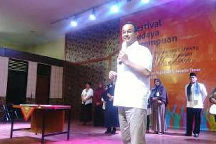 Calon gubernur DKI Jakarta Anies Baswedan saat berbicara di acara