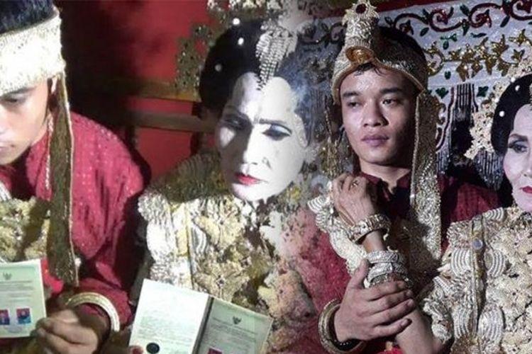 Pernikahan Muhammad Idris (20) dari Enrekang dan Inade (65) asal Sidrap berlangsung meriah.