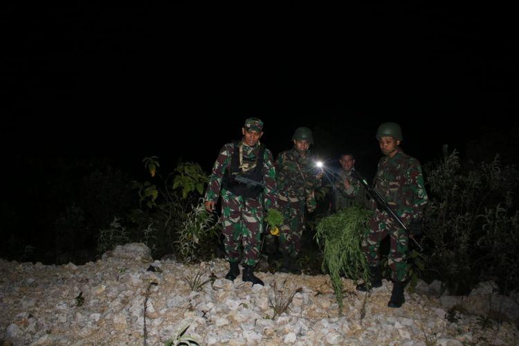 Prajurit TNI saat menemukan ladang ganja di Wamena