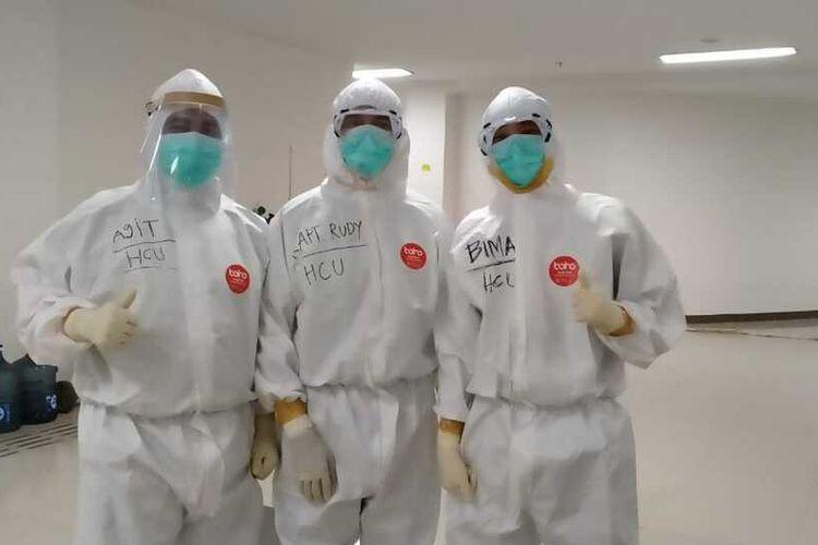 Para perawat pasien Covid-19 di Rumah Sakit Darurat (RSD) Covid-19 Wisma Atlet, Jakarta, Kamis (23/4/2020).
