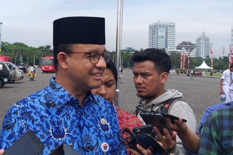 Gubernur DKI Jakarta Anies Baswedan di Lapangan Silang Monas Selatan, Jakarta Pusat, Sabtu (10/11/2018).