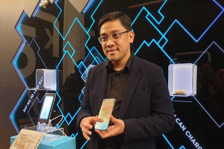 Denny Galant, Head of IM Product Samsung Electronics Indonesia di acara peluncuran Galaxy S10 di Jakarta, Rabu (6/3/2019).