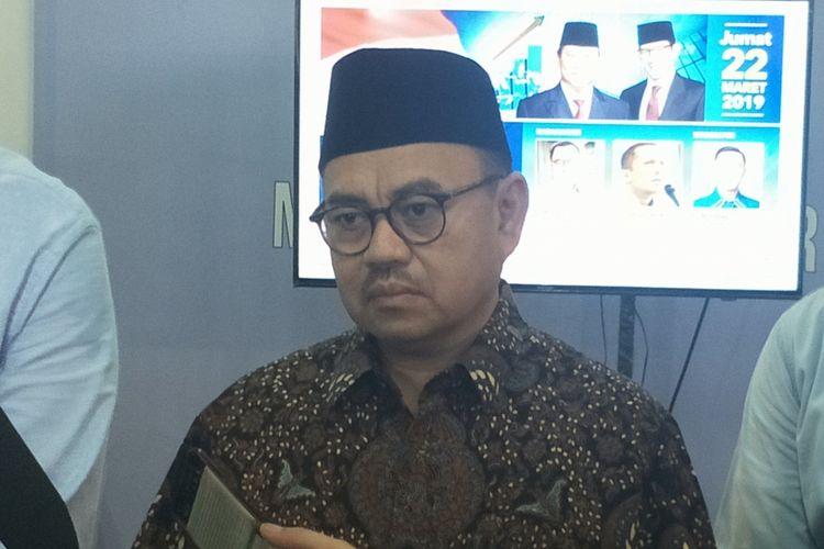 Direktur Badan Pemenangan Nasional pasangan Prabowo Subianto-Sandiaga Uno (BPN) Sudirman Said saat ditemui di media center pasangan Prabowo-Sandiaga, Jalan Sriwijaya I, Jakarta Selatan, Jumat (22/3/2019).