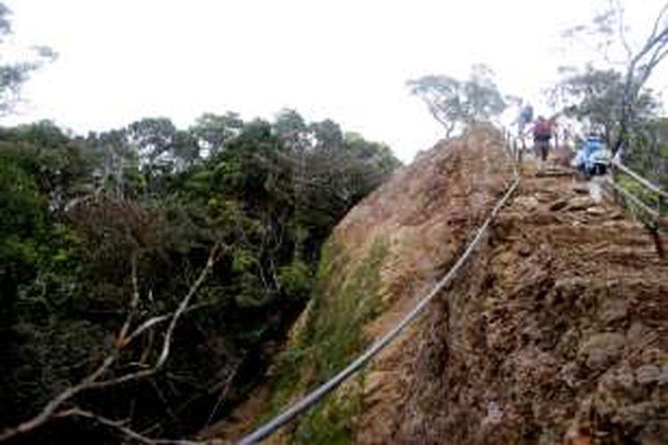 Jalur pendakian setelah Pos Pondok Kandis yang longsor akibat gempa Gunung Kinabalu Juli 2015 lalu dilihat pada Senin (21/11/2016). Dulu jalur di foto tersebut lebih lebar pada saat sebelum gempa.