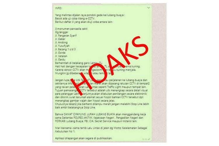 Pesan berisi adanya uji coba tilang elektronik atau menggunakan CCTV di sejumlah titik di DKI Jakarta beredar di aplikasi pesan WhatsApp.