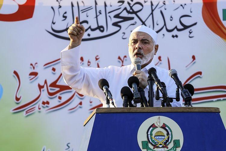 Pemimpin Hamas Ismail Haniya memberikan pidato di Gaza City, Selasa (21/8/2018).