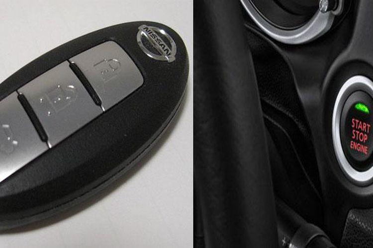 Smart key Nissan dan tombol engine start stop milik Mitsubishi.