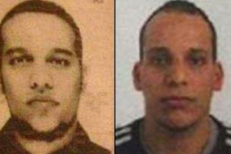 Cherif Kouachi, kiri, dan Said Kouachi, kanan, menjadi tersangka pelaku serangan di kantor majalah satir Charlie Hebdo, Paris, Perancis, Rabu (7/1/2015).