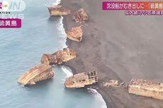 Penampakan Puluhan Bangkai Kapal Jepang Bekas Perang Dunia II Terangkat ke Daratan