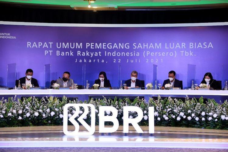 PT Bank Rakyat Indonesia (Persero) Tbk menggelar Rapat Umum Pemegang Saham Luar Biasa (RUPSLB) secara daring di Jakarta, Kamis (22/7/2021).