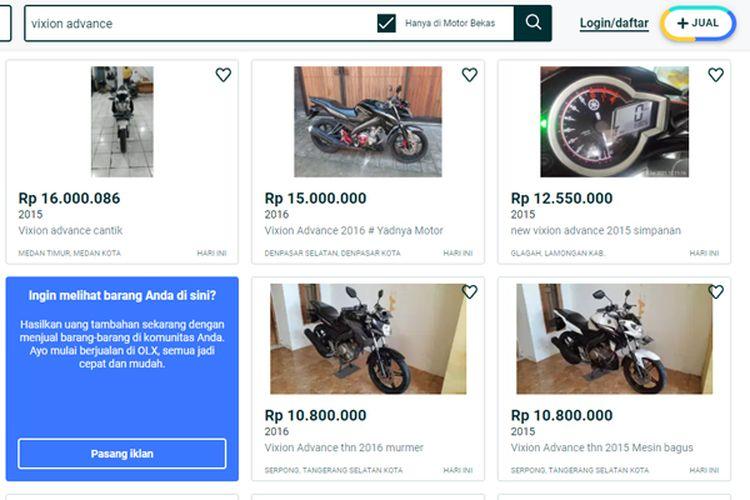 Harga motor bekas Yamaha Vixion Advance di salah satu situs jual beli online
