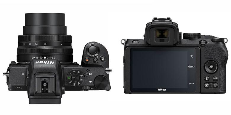 Tampak belakang dan atas Nikon Z50