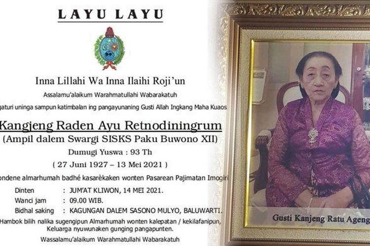Kolase : Lelayu Keraton Solo dan foto semasa hidup istri Paku Buwono XII, KRAy Retnodiningrum.