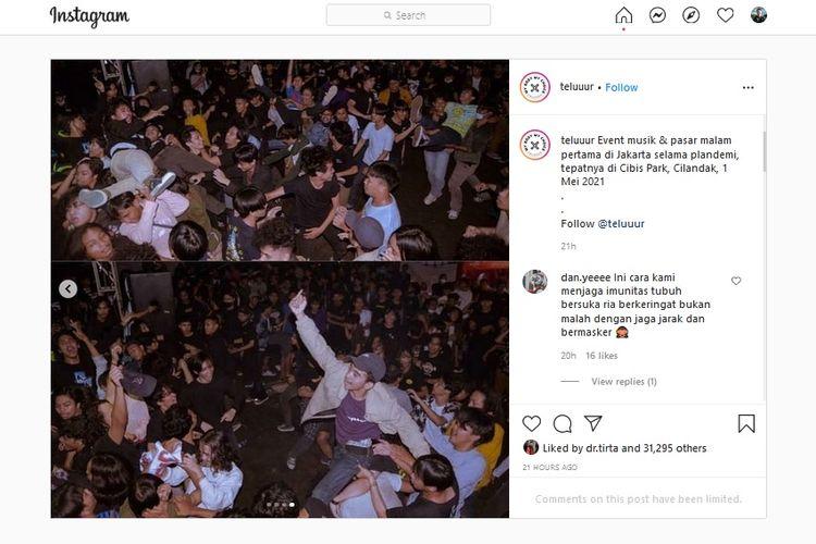 Pergelaran konser musik di area Cibis Park, Cilandak Timur, Pasar Minggu, Jakarta Selatan digelar pada Sabtu (1/5/2021) malam. Lurah Cilandak Timur Sunardi saat dikonfirmasi pada Senin (3/5/2021) siang menegaskan bahwa konser musik tersebut dipastikan tak berizin.