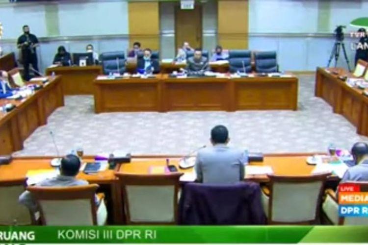 Ilustrasi rapat kerja Komisi III DPR dengan Polri di Kompleks Parlemen, Senayan, Jakarta.
