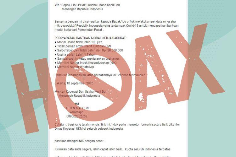 Postingan hoax Formulir Online untuk Daftar Bantuan Modal (tangkapan layar)