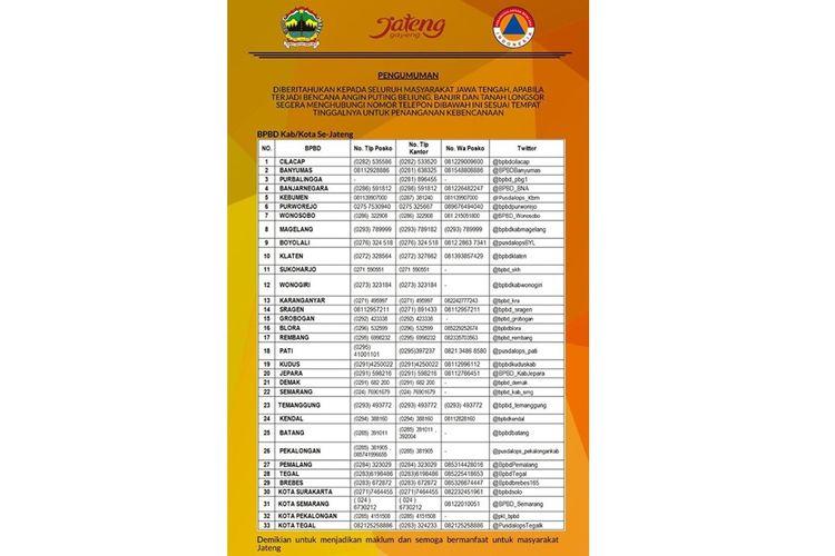 Tangkapan layar kontak informasi yang bisa dihubungi ketika bencana menerjang wilayah Jawa Tengah.