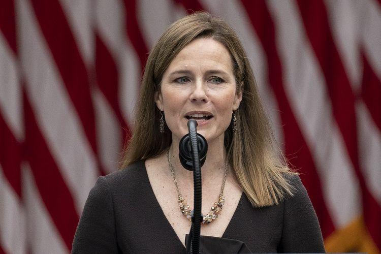 Hakim Amy Coney Barrett berbicara setelah Presiden Donald Trump mengumumkannya sebagai calon di Mahkamah Agung, di Rose Garden di Gedung Putih, Sabtu, 26 September 2020, di Washington.