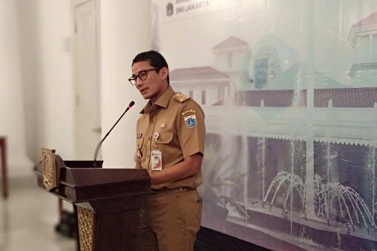 Wakil Gubernur DKI Jakarta Sandiaga Uno di Balai Kota DKI Jakarta, Selasa (13/2/2018)