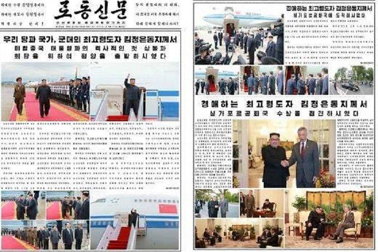 Halaman harian Korea Utara, Rodong Sinmun, yang memperlihatkan kegiatan Kim Jong Un dimulai dari Bandara Pyongyang hingga tiba di kediaman Perdana Menteri Singapura Lee Hsien Loong.