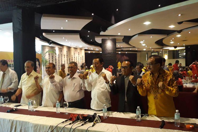 Deklarasi tiga organisasi FKPPI, SOKSI, dan Pemuda Pancasila dukung Bambang Soesatyo sebagai Caketum Golkar, Rabu (20/11/2019).