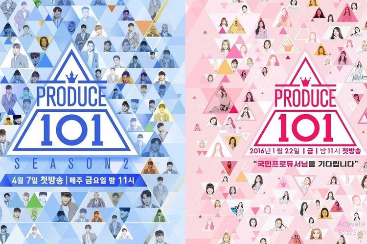Poster program Produce 101 musim pertama dan kedua.