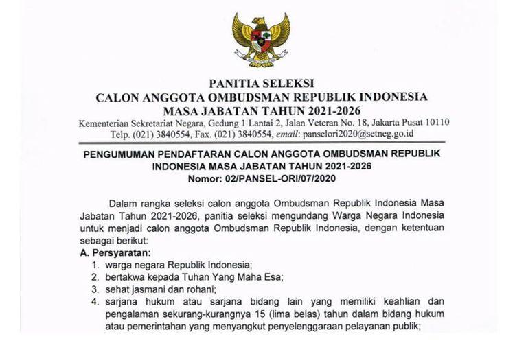 Tangkapan layar dokumen Seleksi Calon Anggota Ombudsman RI Masa Jabatan 2020-2026