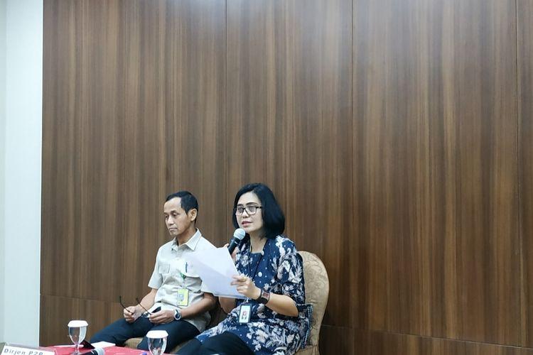 Kepala Biro Komunikasi dan Pelayanan Masyarakat Kementerian Kesehatan (Kemenkes) Widyawati dalam konferensi pers di Kantor Kemenkes, Kuningan, Jakarta Selatan, Senin (3/2/2020).