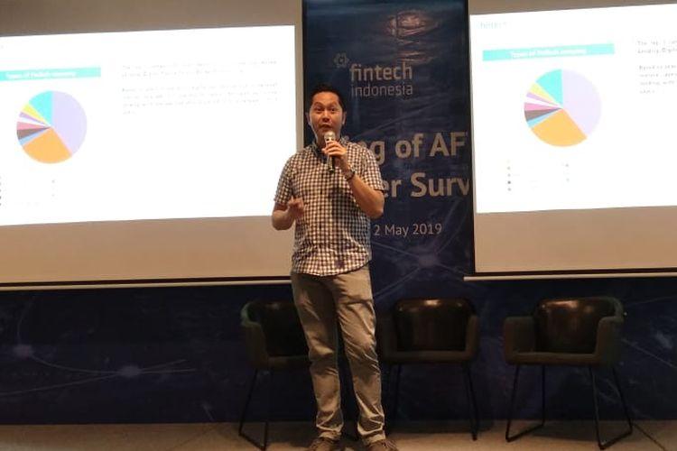 Ketua Umum Asosiasi Fintech Indonesia (Aftech) Niki Santo Luhur dalam Paparan singkat survey Aftech di Jakarta, Kamis (2/5/2019)
